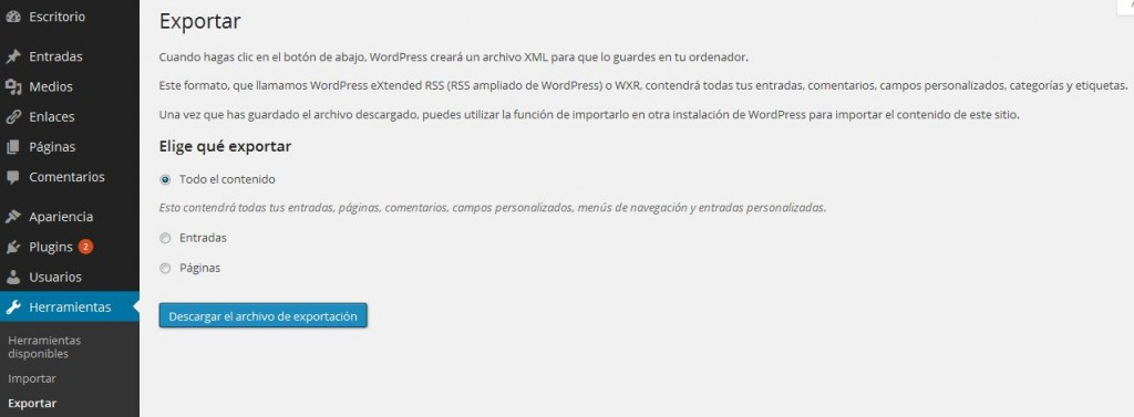 Captura copia seguridad wordpress
