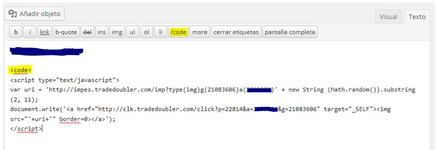 insertar publi en una pagina codigo 002