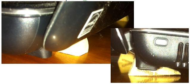 colocación tapón de corcho en cuña en portatil