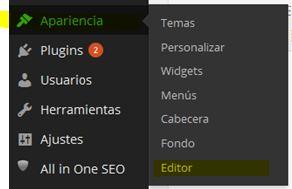 sombra de cabecera en wordpress apariencia editor