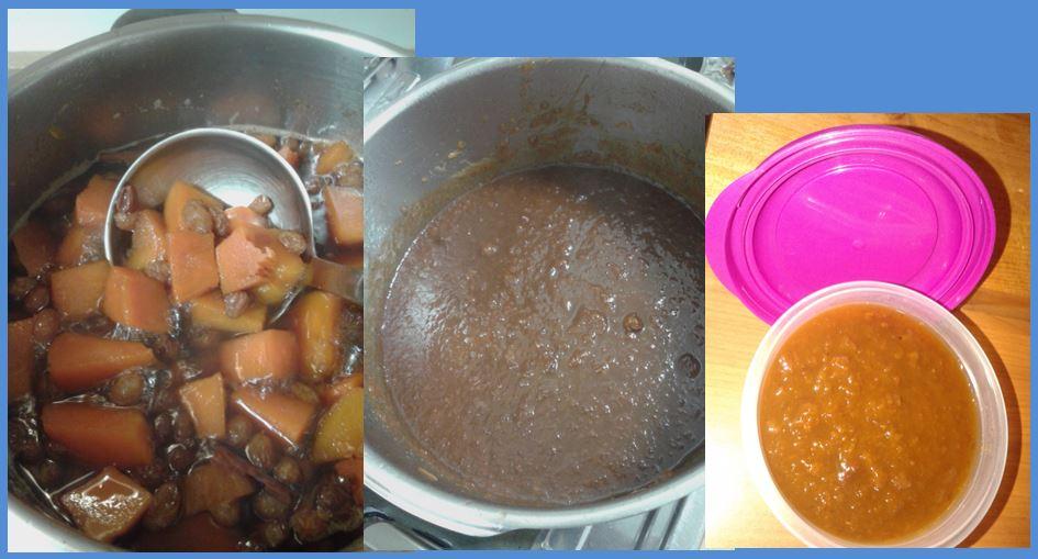 Calabaza triturada para hacer mermelada